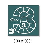 Number 3 multi photo frame ,300 x 300 mm sold individually