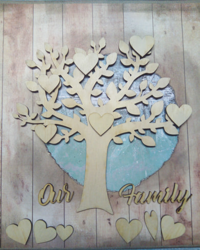 family tree 200 x 200mm hearts and words in veneer,min buy 3
