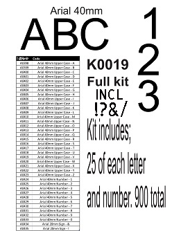 Arial Alphabet 40mm kit no stand k0019 25 of each letter and num