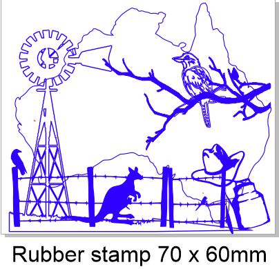 Australian paddock  stamp rubber only 70 x 60mm