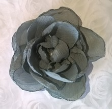 Elsa Grey Chiffon Rhinestone Flower Colour -Pack of 5