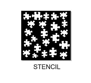 Jigsaw puzzle stencil sizes available via drop down box