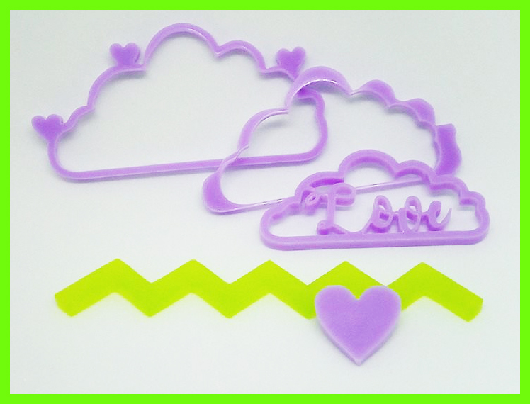 Clouds in Perspex,Love ,chevron and heart  100 x 45 mm min buy 3