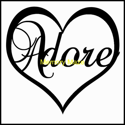 Adore in heart  in circle  45x45mm   pack of 10   Memory Maze