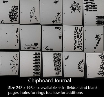 Chipboard journal 15 pages precut +areas paint, ink ,mixed media