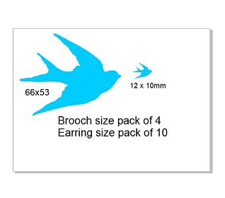 Blue bird ,Brooch or earring size acrylics see drop down box for