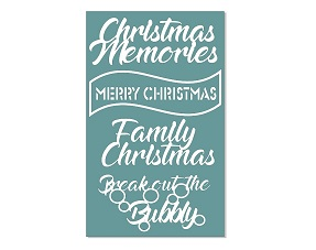 Christmas Memories, 110 x 180mm chipboard,Min buy 3