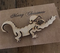 Crocodile Christmas, Min buy 3, shown presented as brooch,