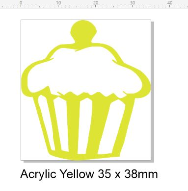 Cupcake acrylic yellow 35 x 38mm pack of 4