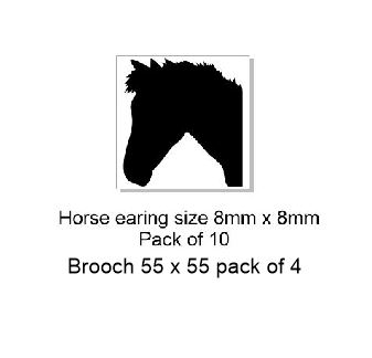 Horse Acrylic(brooch pack of 4)( Earrings pack of 10) see drop d