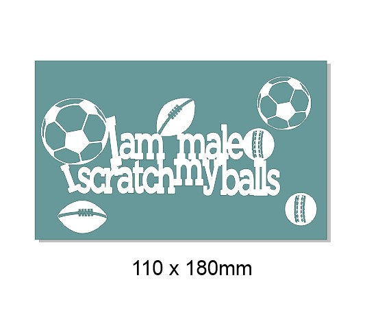 I am man and I scratch my balls  110 x 180mm  Min buy 3