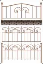 Wrought iron fence set with flourish min buy 3