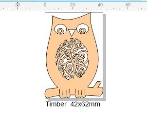 Wooden owl 42 x 62 mm  Pack of 4