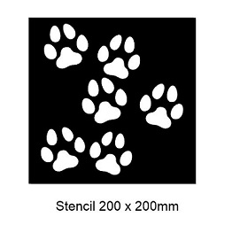 Stencil Paw prints ,200 x 200mm ,